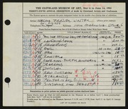 Entry card for Winter, Thelma Frazier for the 1953 May Show.