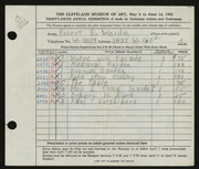 Entry card for Woide, Robert E. for the 1953 May Show.