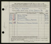 Entry card for Kennedy, Jean for the 1953 May Show.