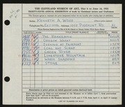 Entry card for Wood, Kenneth A. for the 1953 May Show.