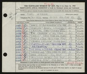 Entry card for Wyman, Carl for the 1953 May Show.