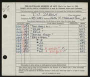 Entry card for Zaboly, T. J. for the 1953 May Show.