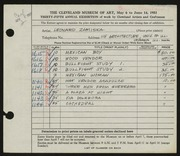 Entry card for Zamiska, Leonard for the 1953 May Show.