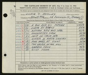 Entry card for Addley, Gloria D. for the 1954 May Show.