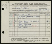 Entry card for Adler, Harriet for the 1954 May Show.