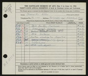 Entry card for Jameyson, Jeannette Allen for the 1954 May Show.