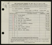Entry card for Andres, Richard for the 1954 May Show.