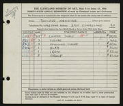 Entry card for Arnstine, Donald for the 1954 May Show.