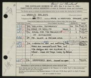 Entry card for Balazs, Harold R. for the 1954 May Show.