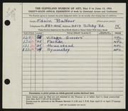 Entry card for Balfour, Edwin for the 1954 May Show.