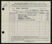 Entry card for Barnard, Maxwell Vosper for the 1954 May Show.