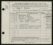 Entry card for Bauer, Janet Lucile for the 1954 May Show.