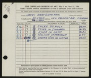 Entry card for Bertschmann, Harry for the 1954 May Show.