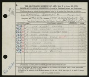 Entry card for Bookatz, Samuel for the 1954 May Show.