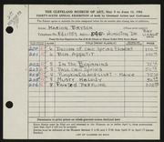 Entry card for Bryson, Marion Camp for the 1954 May Show.