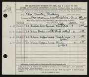 Entry card for Bulkley, Dorothy for the 1954 May Show.