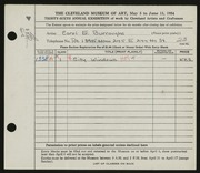 Entry card for Burroughs, Carol E. for the 1954 May Show.