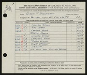 Entry card for Buschmann, Gladys F. for the 1954 May Show.