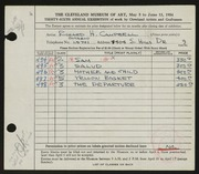 Entry card for Campbell, Richard H. for the 1954 May Show.