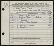 Entry card for Cass, Katherine Dorn for the 1954 May Show.