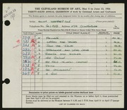 Entry card for Cole, Helen Champney for the 1954 May Show.