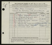 Entry card for Cunningham, Mary Phillips for the 1954 May Show.