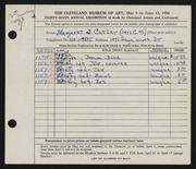 Entry card for Cutler, Margaret Scovel for the 1954 May Show.