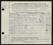 Entry card for David, Adeline Wilkens for the 1954 May Show.