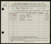 Entry card for Eilers, John F., Jr. for the 1954 May Show.