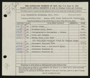 Entry card for Eisenberg, Marguerite Wright, and Mosgo, Charles Francis for the 1954 May Show.