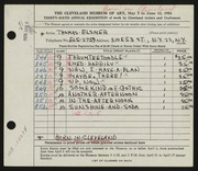 Entry card for Elsner, Thomas Joseph for the 1954 May Show.
