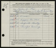 Entry card for Fox, Freda L. for the 1954 May Show.