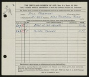 Entry card for Frahme, Bill for the 1954 May Show.