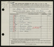 Entry card for Gerard, Nancy Geggus for the 1954 May Show.