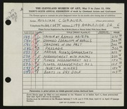 Entry card for Grauer, William C. for the 1954 May Show.