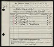 Entry card for Harty, Stephen Thomas for the 1954 May Show.