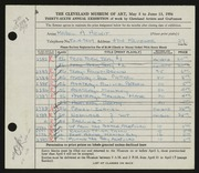 Entry card for Hewit, Mabel A. for the 1954 May Show.