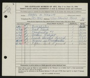Entry card for Hewitt, Mabel H. for the 1954 May Show.