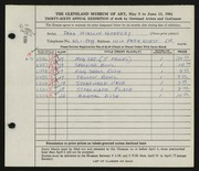 Entry card for Hlobeczy, Jean Winslow for the 1954 May Show.
