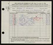 Entry card for Hlobeczy, Nicholas for the 1954 May Show.