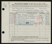 Entry card for Hollendonner, Frederick Lener for the 1954 May Show.