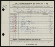 Entry card for Ingalls, Eileen B. for the 1954 May Show.