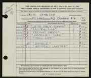 Entry card for Johnson, Jack E. for the 1954 May Show.