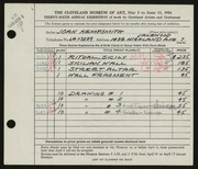 Entry card for Kempsmith, Joan for the 1954 May Show.