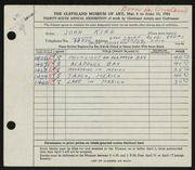 Entry card for King, John for the 1954 May Show.