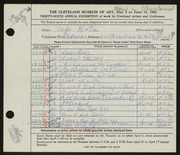 Entry card for Kintz, Jayn for the 1954 May Show.