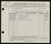 Entry card for Kord, Victor for the 1954 May Show.