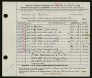 Entry card for Kottler, Howard for the 1954 May Show.