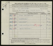 Entry card for Lachiusa, Salvatore A. for the 1954 May Show.