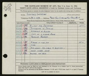Entry card for Landesman, Geoffrey for the 1954 May Show.
